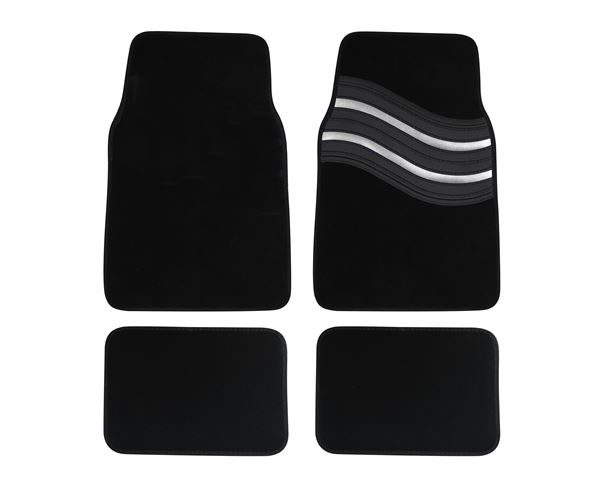 Wave Carpet Car Mat Set - Silver
