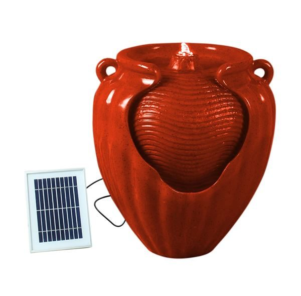 Solar-Powered Vase Pot Water Fountain (Red)