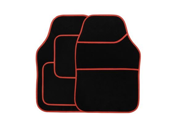 4 Piece Black Velour Mat Set with Red Bind (Box Qty: 12)