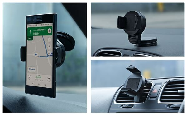 Image showing the SWGH3 gadget holder and how it can be mounted in three different ways the gadget holder can be mounted.