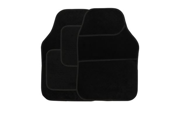 4 Piece Black Velour Mat Set with Black Bind (Box Qty: 12)