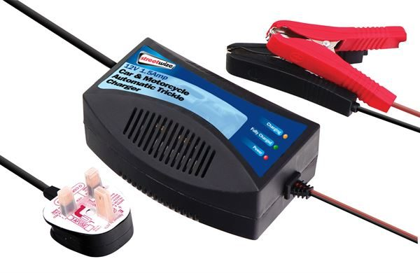 An image of Streetwize Trickle Battery Charger with crocodile clips and mains plug