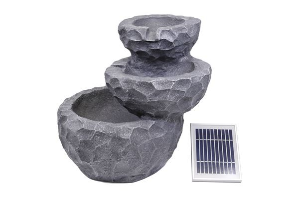 Solar-Powered Three-Tiered Rock Water Fountain