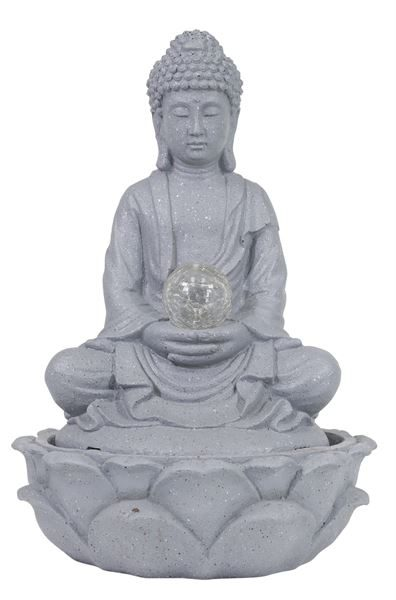 Solar-Powered Buddha Water Feature with Solar Light Ball (Box Qty: 1)
