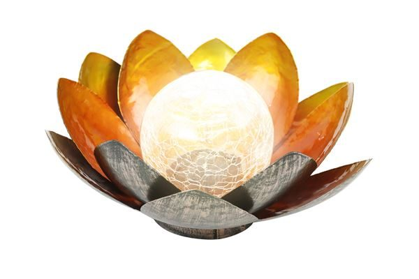Solar Metal Flower Light With Crackle Ball