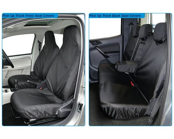 An image of waterproof  pick-up truck seat protectiors semi tailored for Ford Ranger, Toyota Hilux, Nissan Navarram Mitsubishi L200 and Isuzu Rodeo D-Max